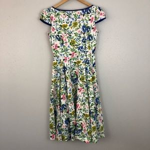 Hearts & Roses Dresses - Hearts Roses London Swing Dress Blue Floral A Line
